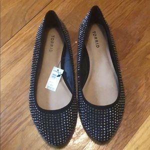 Torrid Black Metal Spike flats 8.5 fits 9.5 NWT